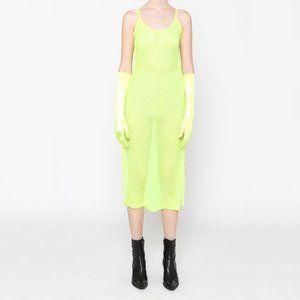 Neon Yellow Slip Dress Sheer Mesh